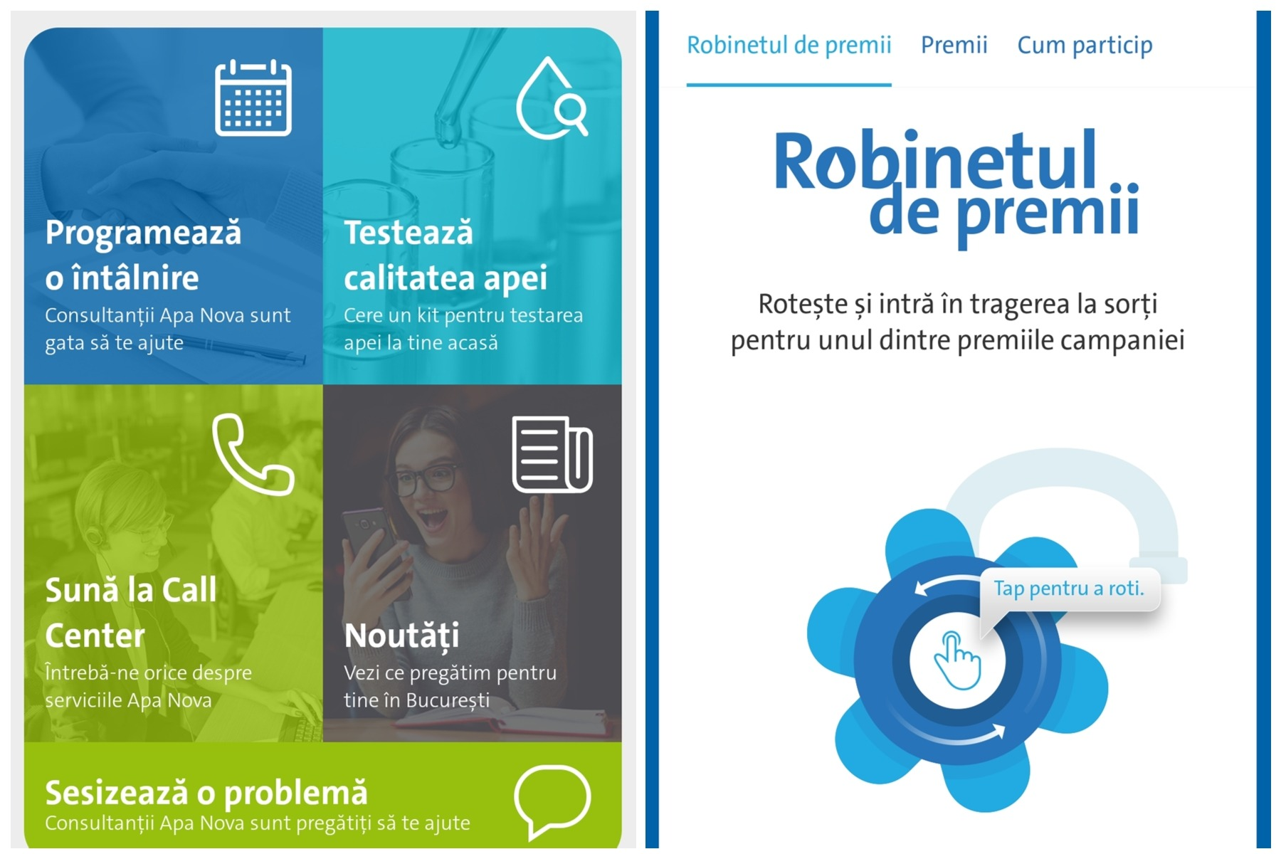 """Aplicația Apa Nova deschide """"Robinetul de premii"""" pentru utilizatori"""